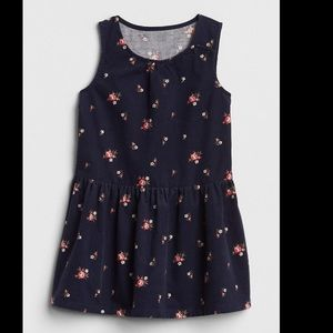 Baby gap navy floral cord sleeveless dress